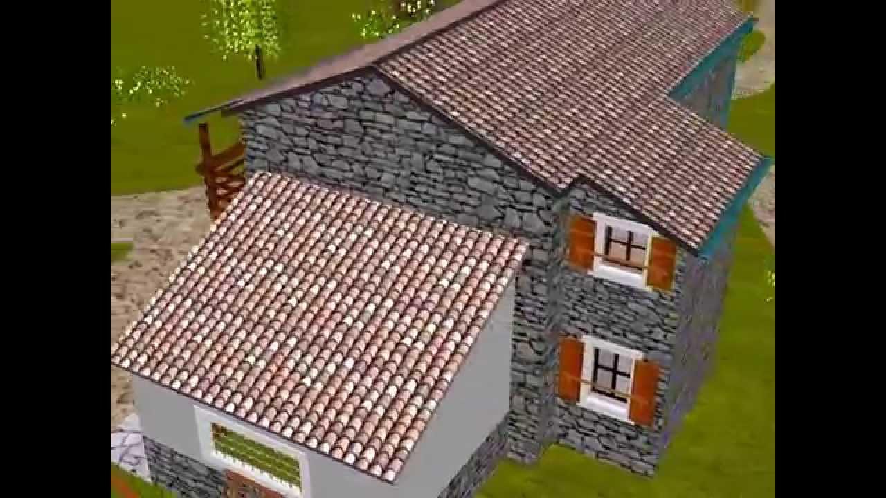 Autocad 3d casa rurale progetto youtube for Progetto 3d casa