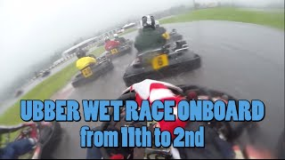 karting wet race with slicks - Pablo Lopez on board