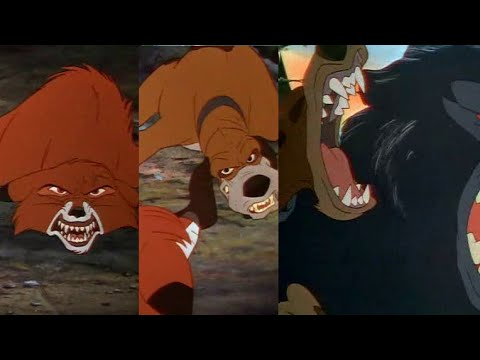 (Fox and the hound) Tod saves Copper from Bear HD