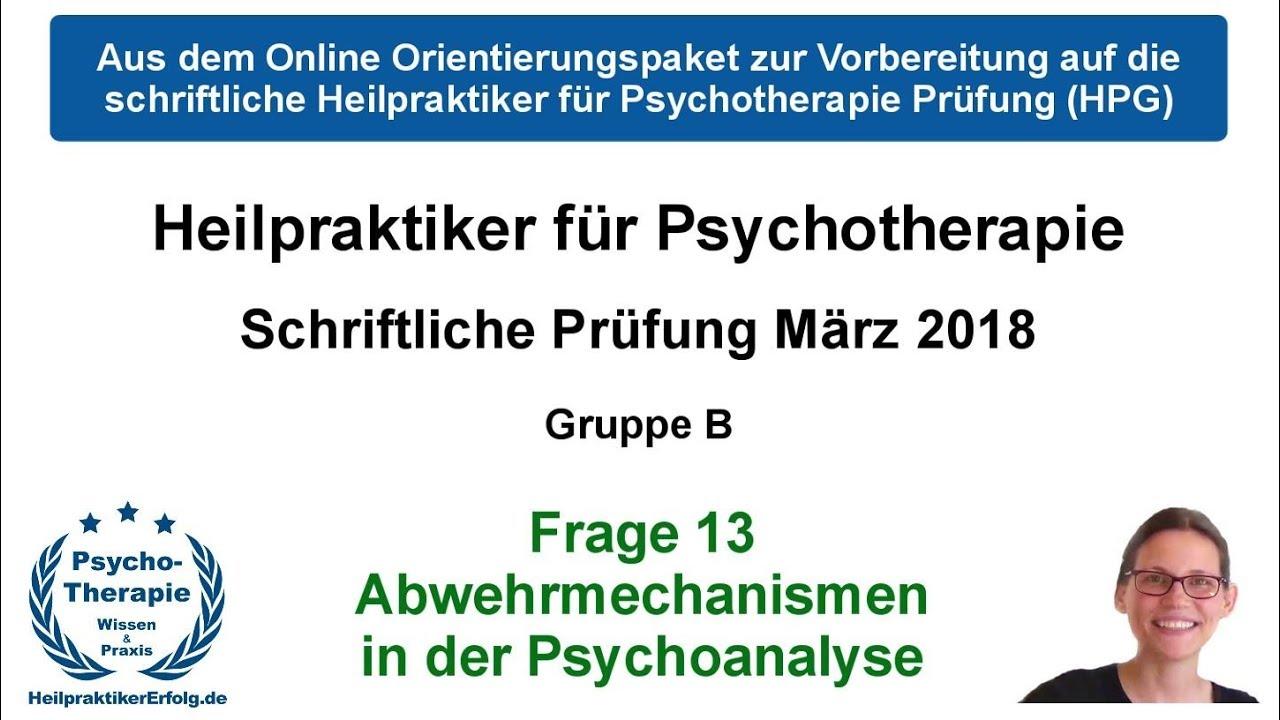 Abwehrmechanismen Freud Beispiele heilpraktiker psychotherapie prüfung märz 2018 frage 13: abwehrmechanismen  psychoanalyse