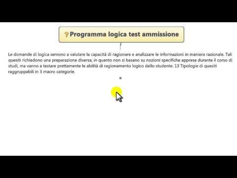 1. Logica test medicina 2015/2016 - Programma logica test medicina