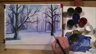 Зимний пейзаж. Гуашь