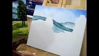 Como pintar montanhas – Pintura em Tela para Iniciantes