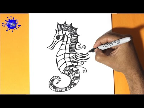 Como dibujar un caballo de mar - How to draw a sea horse - Buscando ...