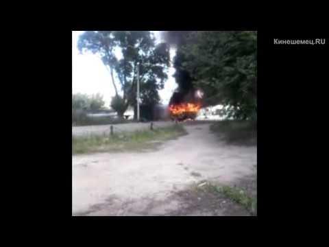 На улице Спортивной сгорел пассажирский автобус