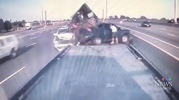 WARNING: Violent collision on Highway 401 caught on camera
