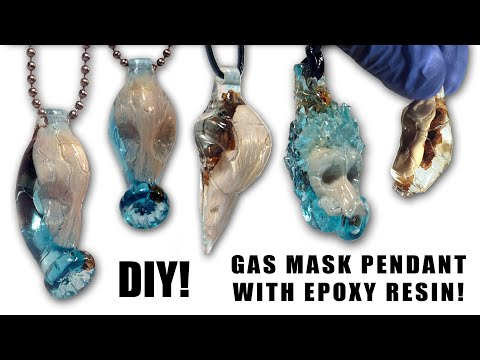 DIY. Gas Mask Pendant with Epoxy Resin! Wisiorek z Żywicy ! Crow Skull pendant.