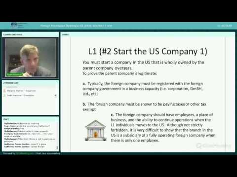 Webinar: Foreign Businesses Opening a US Office, and the L1 visa