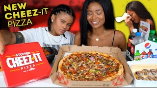 PIZZA HUT CHEEZ-IT MUKBANG + I MADE LOU CRY ON HER BDAY!