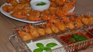 Креветки с чесночным соусом и соусом чили