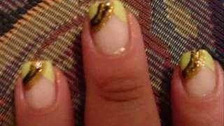 Green, Black, Gold Glitter French Nail Art Tutorial Thumbnail