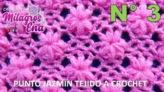Punto FLORES JAZMÍN tejido a crochet para colchitas de bebe - points crocheted thumbnail