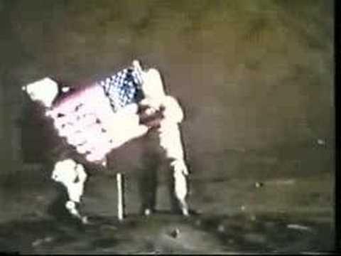 Apollo 17 crew setting up the U.S. flag