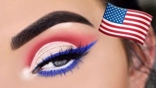 Drugstore Fourth of July Eye Makeup Tutorial | Red, White & Blue