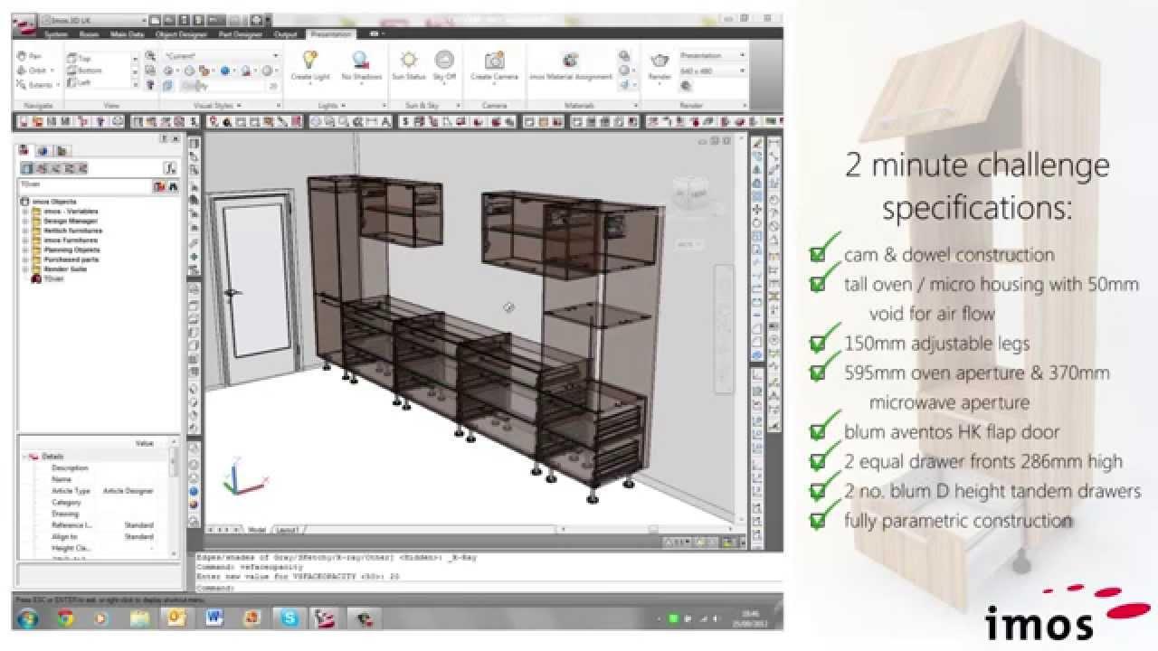 Kitchen Cabinet Design Software Pantry Storage Imos Cad Cam - 2 Minute Challenge Youtube