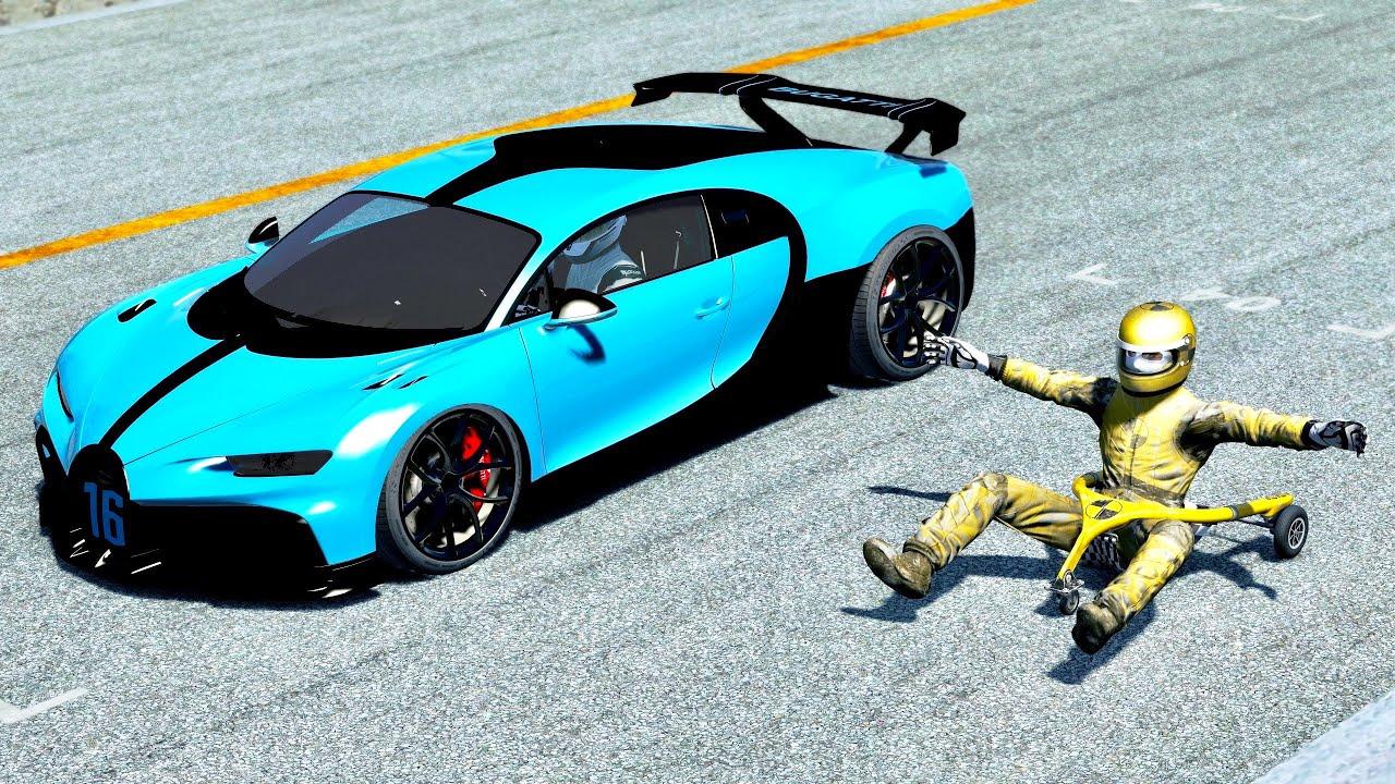 Bugatti Chiron Pur Sport vs Man Cart at Top Gear Track - YouTube