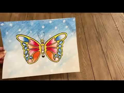 Art Lessons for kids/ Butterfly coloring/ butterfly painting/Oil pastels