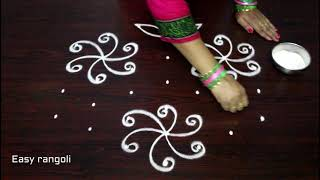 easy beginners kolam designs with 7 dots - simple chukkala muggulu - latest rangoli designs
