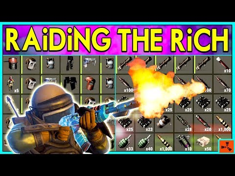 Rust RAiDiNG RiCH BASES - EXPLOIT RAID LOOT - Wealthy Raids + PvP Plays (Rust Modded Raids) thumbnail