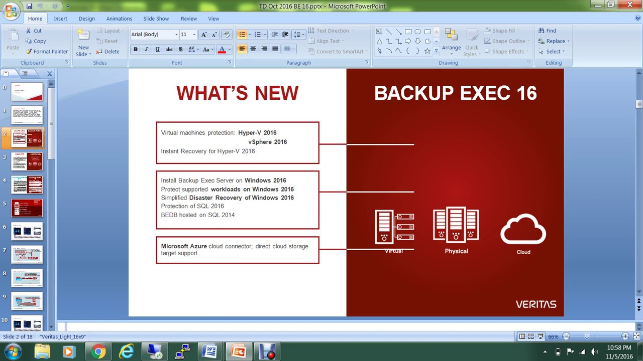 backup exec16 support for windows server2016