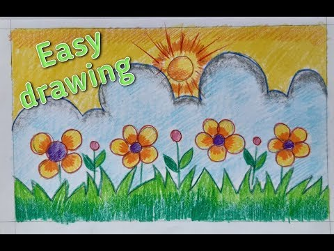 How To Draw Easy Flower Garden Painting Youtube