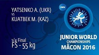 1/4 FS - 55 Kg: A. YATSENKO (UKR) Df. M. KUATBEK (KAZ) By TF, 10-0