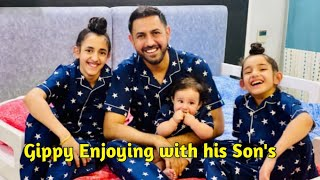 Gippy Grewal enjoying with his Son's ( Shinda & Ekom ) | Ap Tashan