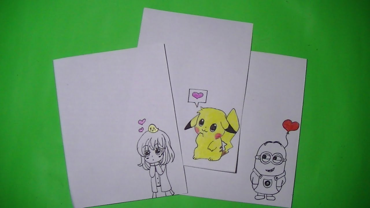 Como dibujar/pintar tarjetas para San Valentin - Hiyokoi, Pikachu y ...