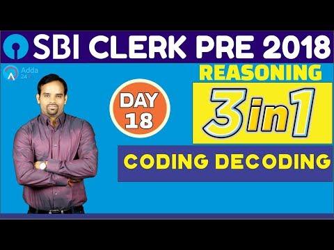 SBI Clerk Pre 2018 | Coding Decoding | Reasoning | (Day -18) | Online Coaching For SBI