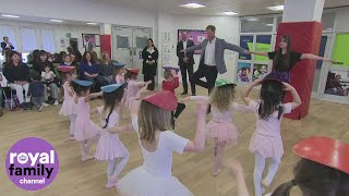 Duke of Sussex does ballet dance with baby ballerinas
