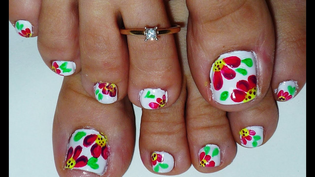 Summer Flowers Toe Nail Art Design Youtube