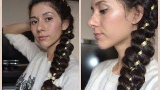 КОСА ИЗ 4 ПРЯДЕЙ.super понятная техника плетения косы из 4 прядей с лентой.