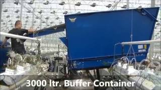Bio Chopper plant shredder buffer and tipping container in tomato greenhouse crop rotation machinery