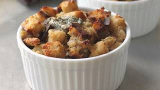 Food Wishes Recipes - Savory Gorgonzola Bread Pudding Recipe - Gorgonzola Bread Side Dish Recipe
