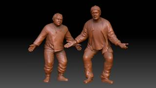 3D sculptures: actors Leonov and Yakovlev in Uef and Bee's roles in the movie
