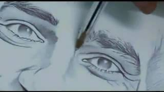 Drawing Mohammed Salah by only a Pen .. Awesome