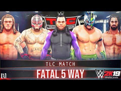 WWE 2K19 Fatal 5 Way TLC Match - Jeff Hardy vs Edge vs Seth Rollins vs Rey Mysterio vs Kalisto