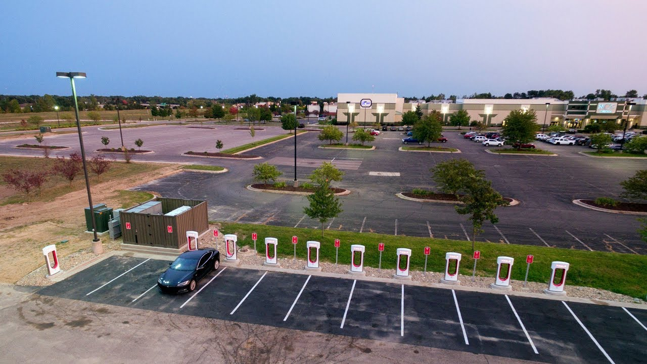 Tesla Superchargers Lansing, MI 4K Drone Construction Video