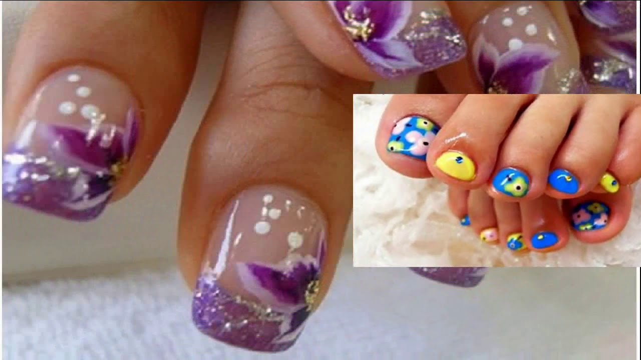 Uñas Delos Pies Decoradas Con Flores Faciles Y Bonitas Youtube
