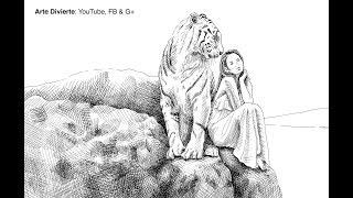 Cómo dibujar una mujer y un tigre con pluma de vidrio y tinta China