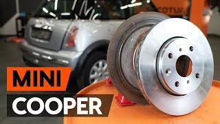 How to change rear brake discs / rear brake rotors on MINI COOPER 1 (R50, R53) [TUTORIAL AUTODOC]