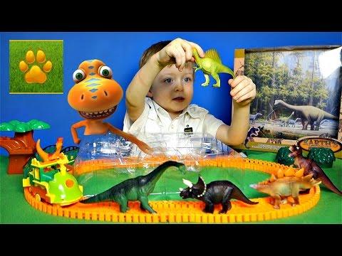 Детям про Динозавров Набор Хищники и Травоядные Распаковка Обзор Поезд  Динозавров Lion Boy