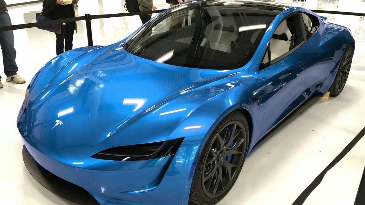 Blue tesla roadster 2020 on the road - YouTube