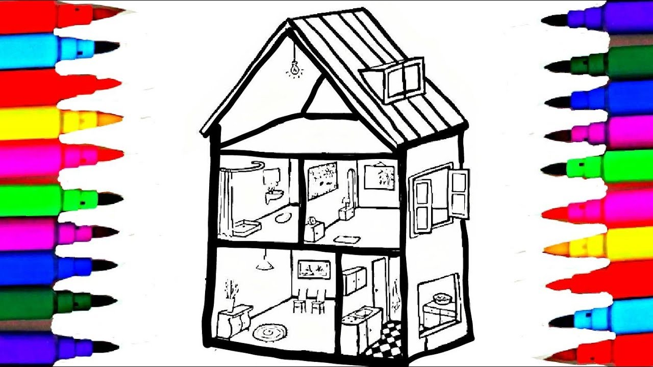 Bathroom bedroom dinning room coloring pages l kids coloring book drawing videos for kids