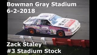 Zack Staley #3 Stadium Stock Bowman Gray Stadium 6-2-2018