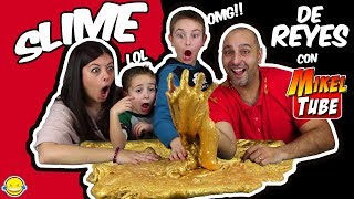 SLIME DE ORO DE REYES CON MIKELTUBE!! Hacemos Slime dorado! Making 1 Gallon of Golden King Slime