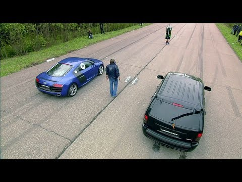 Audi R8 V10 vs Jeep SRT-8 vs Nissan GT-R