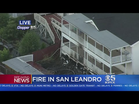 SAN LEANDRO FIRE:  Firefighters battle apartment building fire in San Leandro