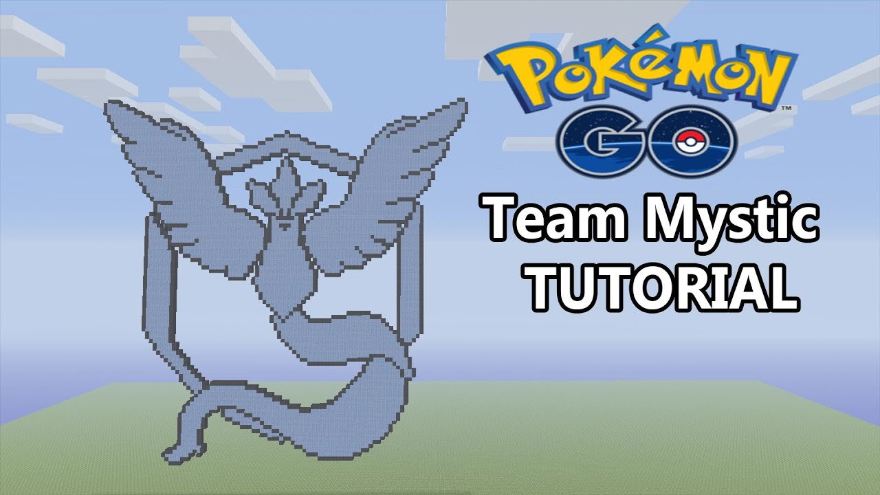 Minecraft pokemon go team mystic logo pixel art tutorial - Pokemon logo minecraft ...