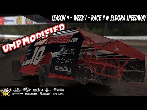 iRacing DIRTcar UMP Modifieds Week 1 Race 4 @ Eldora Speedway